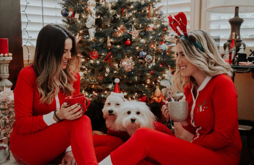 girl best friends enjoying coffee together on Christmas morning