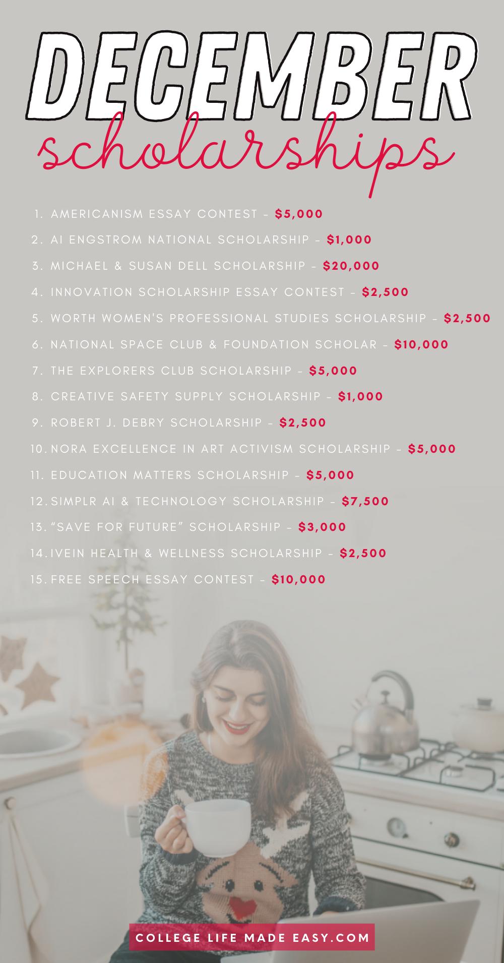 December scholarships infographic list