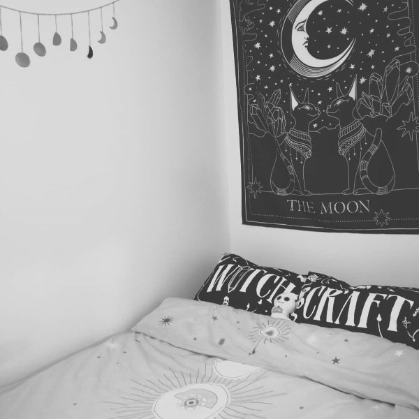black and white witch aesthetic college dorm