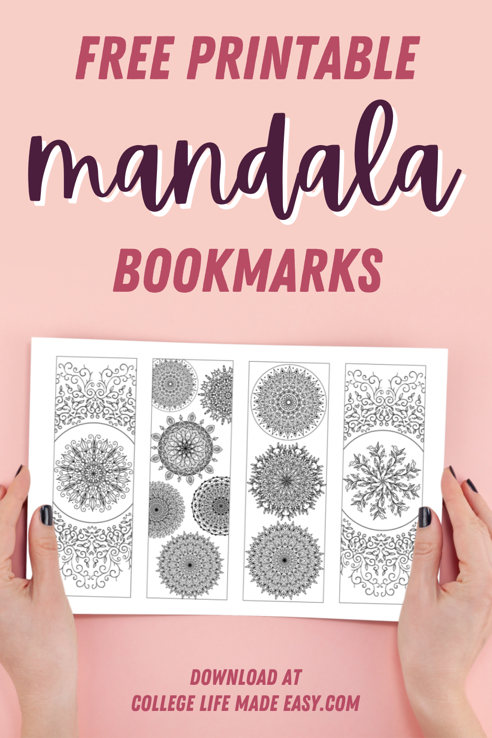 Free Printable Mandala Bookmarks: 8 Floral Inspired Designs to Color 1