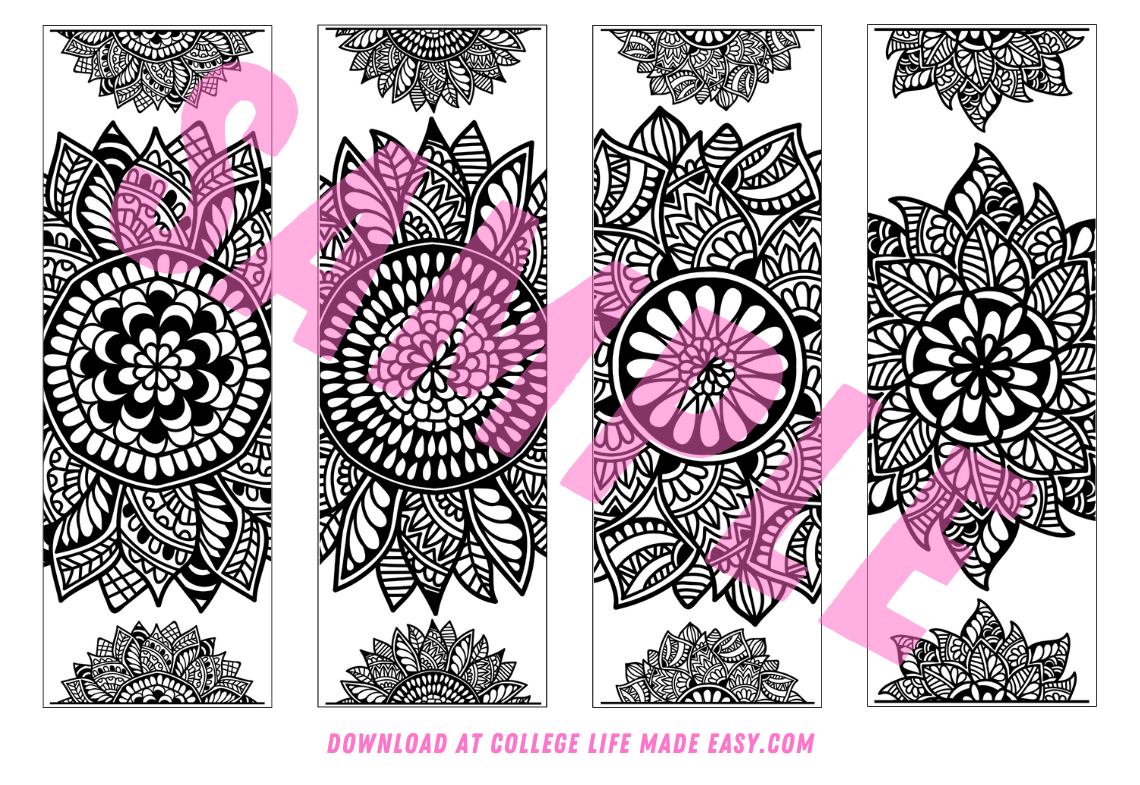 example 2 of free printable mandala bookmarks