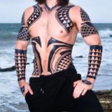full torso Aquaman temporary tattoos for Halloween costume