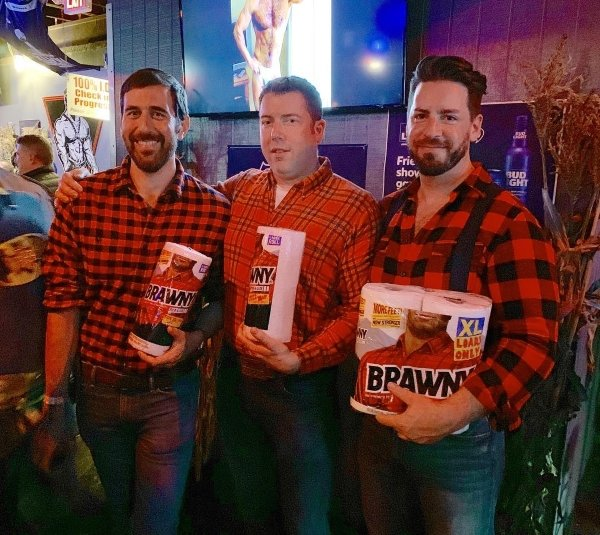 3 guys dressed as the Brawny man for Halloween
