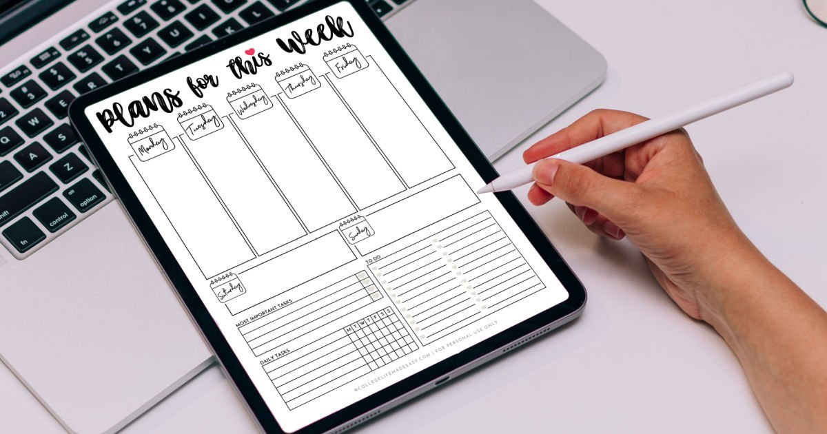 cute weekly planner template being used digitally on an ipad