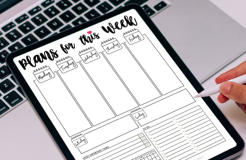 cute printable weekly planner being used digitally on a tablet