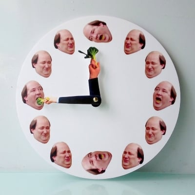 Kevin broccoli wall clock funny clock funny gift for fans of The Office tv series