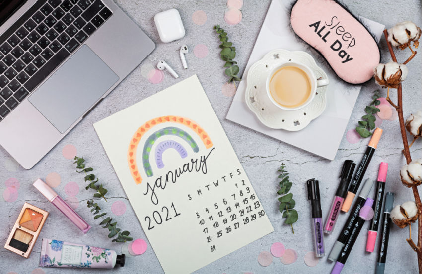 colorful January planning calendar with dates