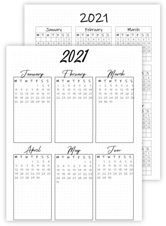 example of free calendar printables for a bullet journal page