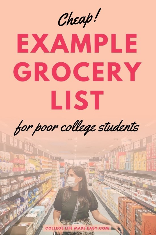 cheap example grocery list for college students infographic to save to Pinterest for later