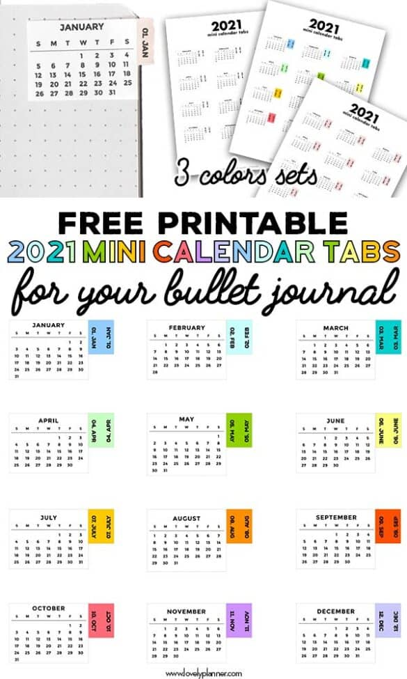 free printable 2021 mini calendar tab stickers for bullet journaling