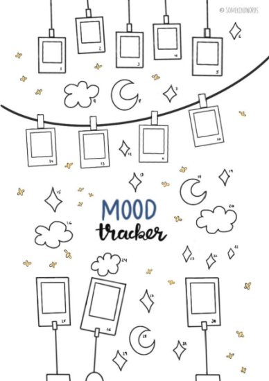 mood tracker bujo page with hand drawn polaroids, stars, and clouds