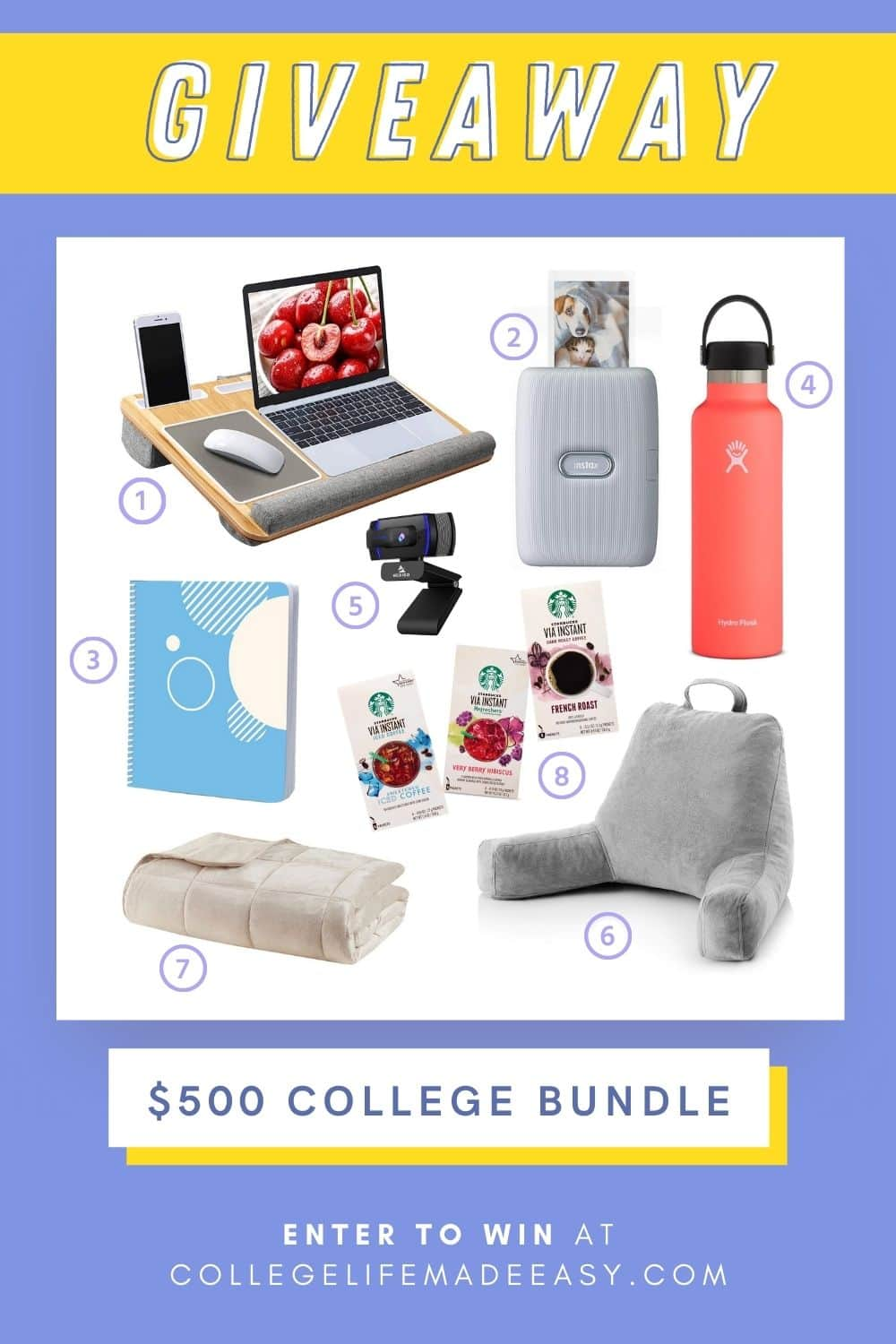 $500 college bundle giveaway on purple background featuring the prizes