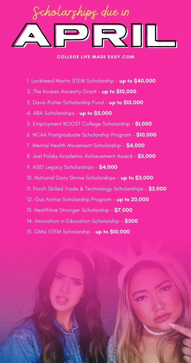 pink infographic with list of scholarships due in April