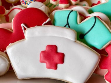 assortment of colorful nurse themed cookies