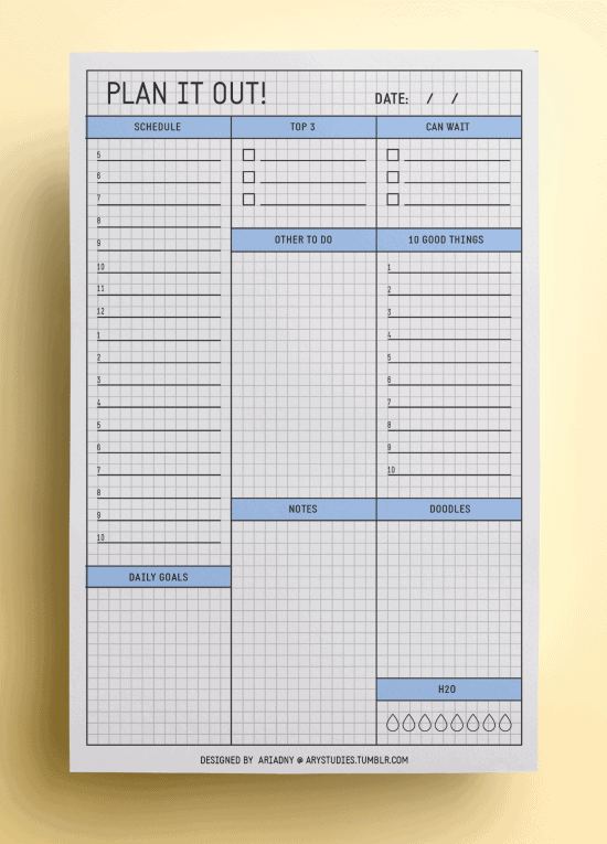 daily planning template, blue grid paper