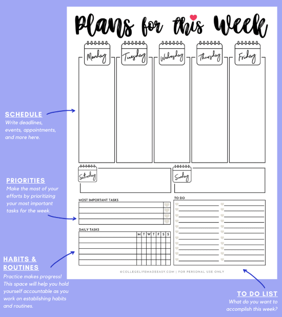 weekly planner template for students to organize their schedule, infographic with purple background