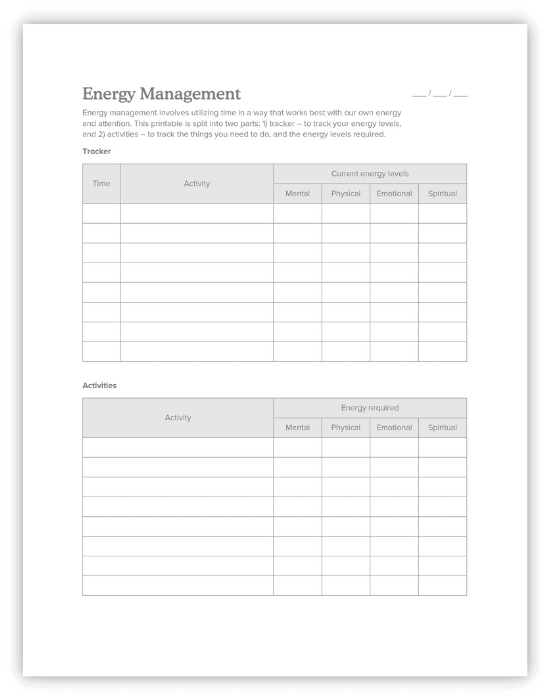 energy management template for students