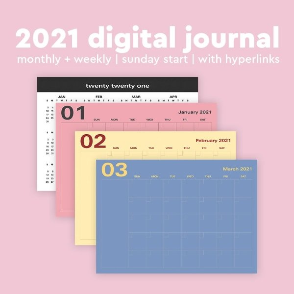 colorful calendar template for 2021