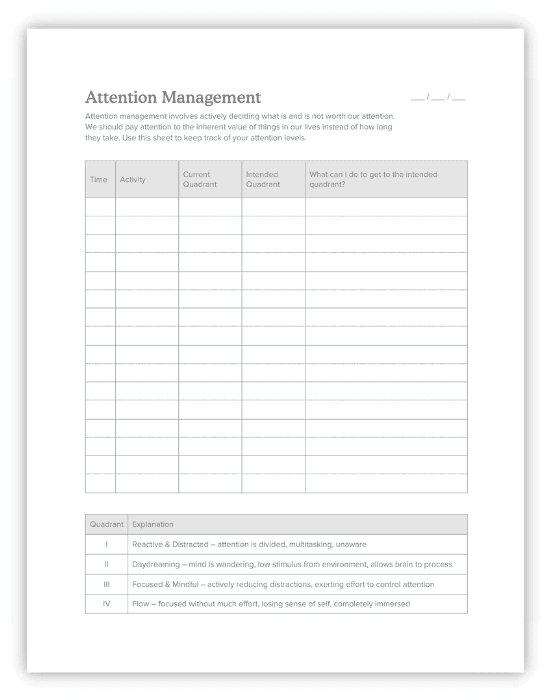 attention management worksheet for college productivity