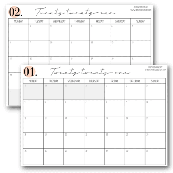 simple 2021 printable calendar