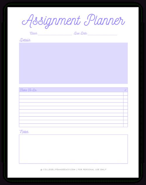 purple assignment planning worksheet