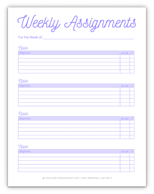purple weekly assignment template for college classes