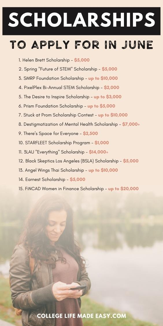list of scholarships to apply for in June - Pinterest infographic