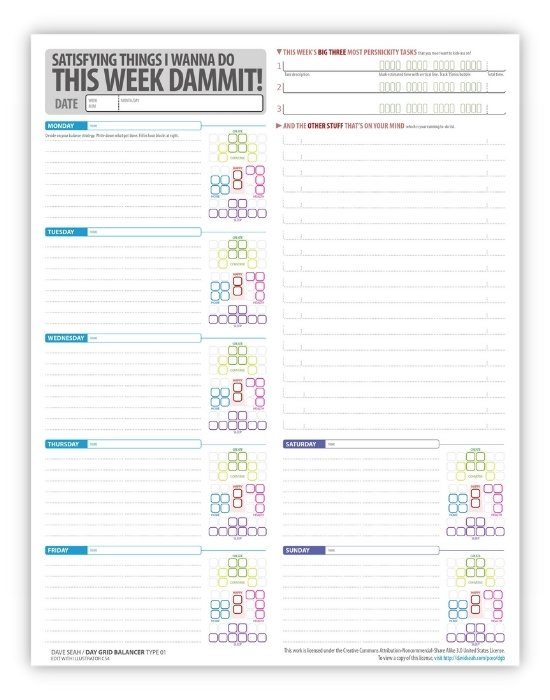 productive week planning template
